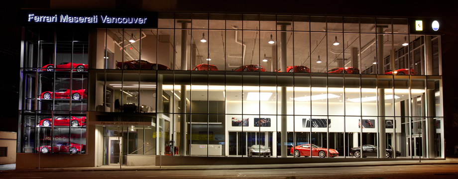 Exotic car dealership newly constructed in Vancouver, BC.